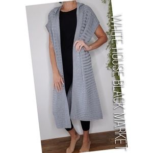 WHBM hooded duster ribbed cardigan